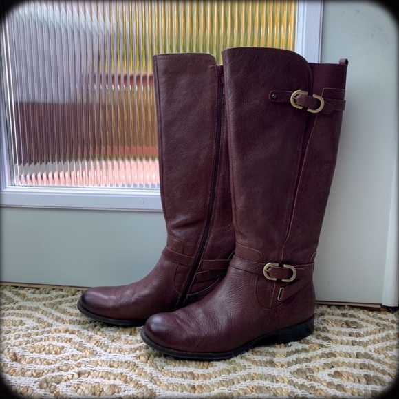 BURGUNDY WINE TALL RIDING BOOTS